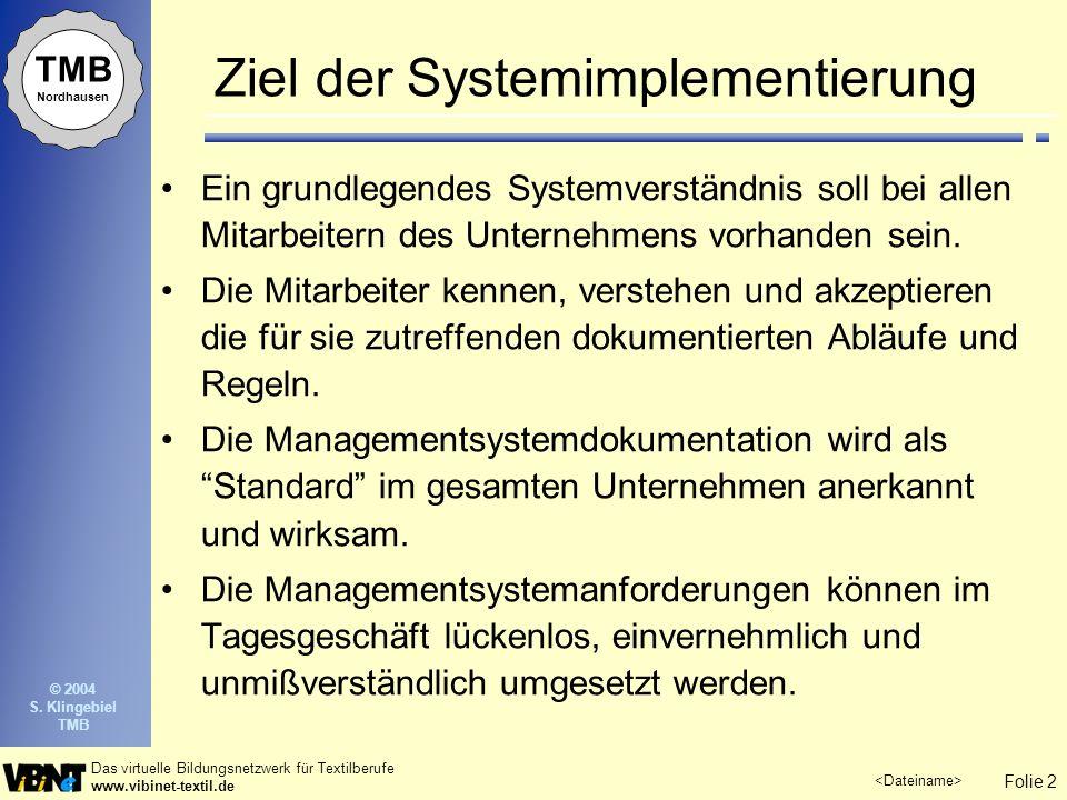 Ziel der Systemimplementierung
