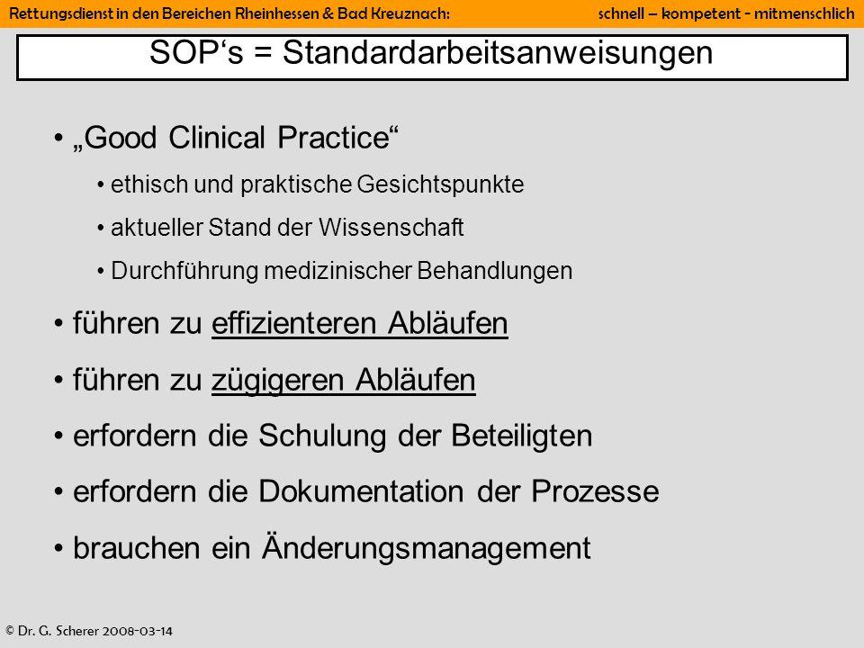 SOP's = Standardarbeitsanweisungen