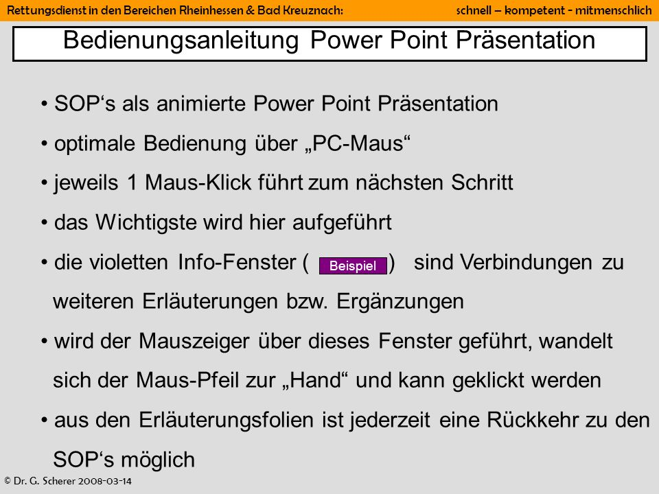 Bedienungsanleitung Power Point Präsentation