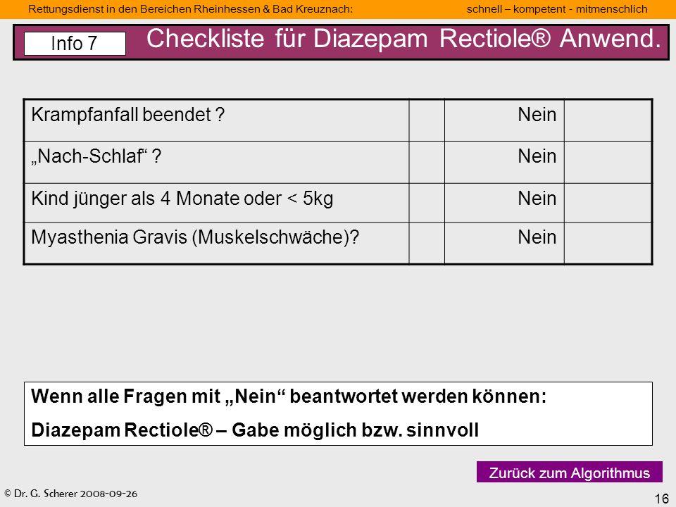 Checkliste für Diazepam Rectiole® Anwend.