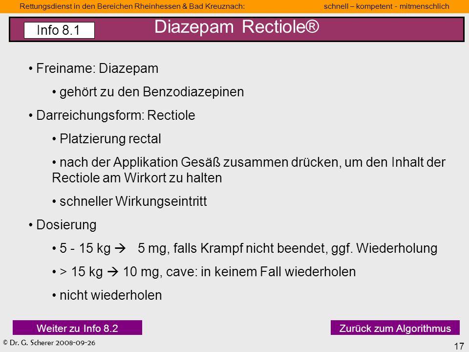 Diazepam Rectiole® Info 8.1 Freiname: Diazepam