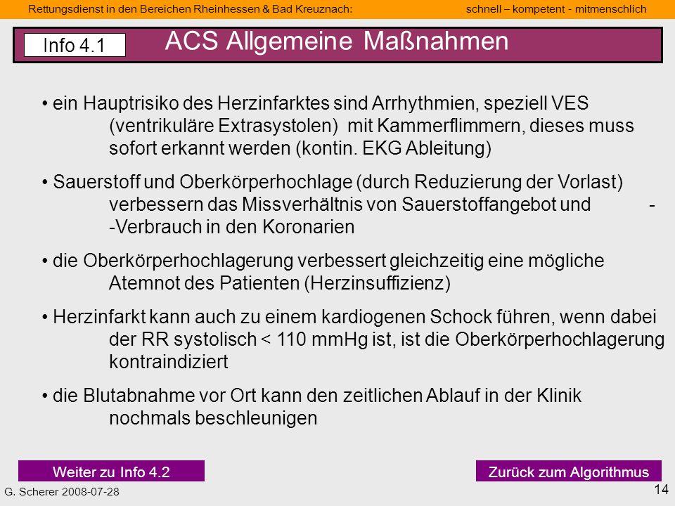 ACS Allgemeine Maßnahmen