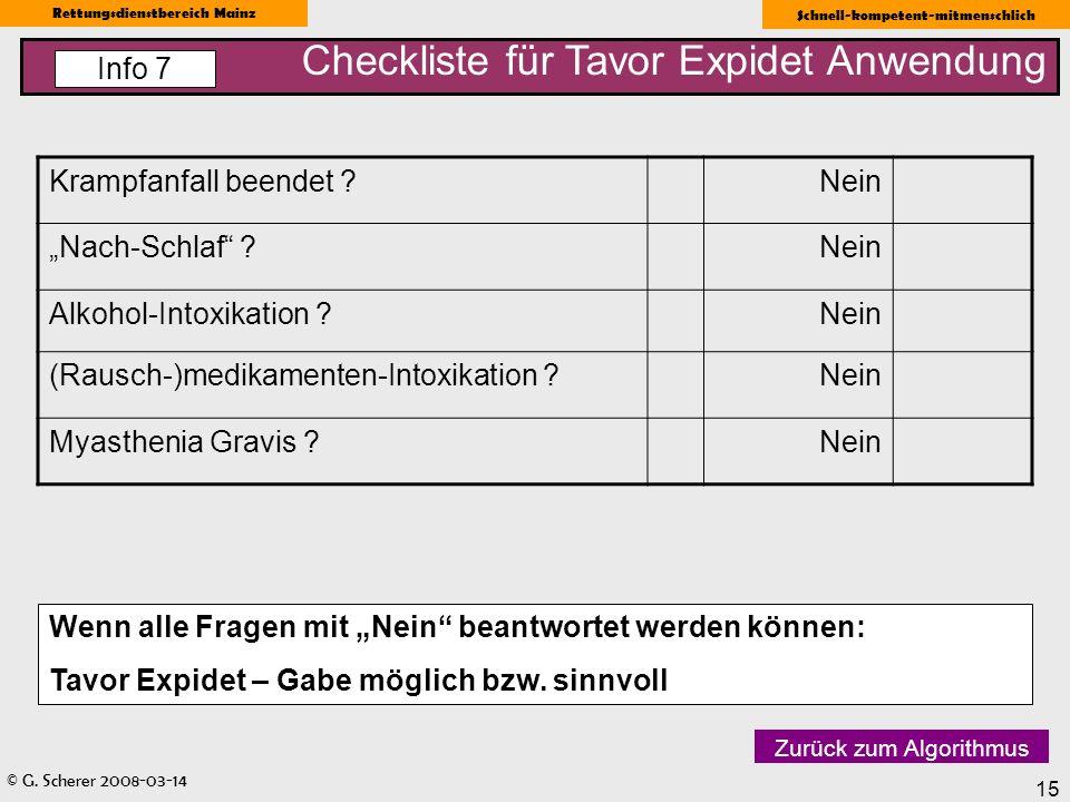 Checkliste für Tavor Expidet Anwendung