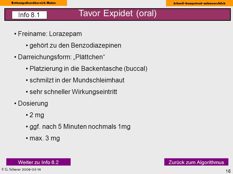 Tavor Expidet (oral) Info 8.1 Freiname: Lorazepam