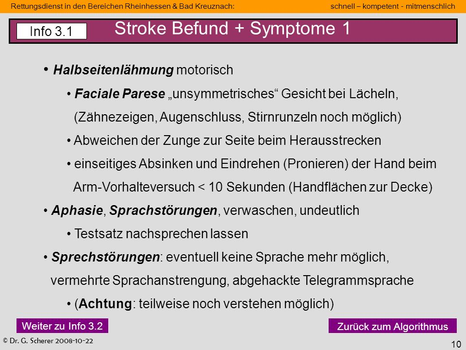 Stroke Befund + Symptome 1