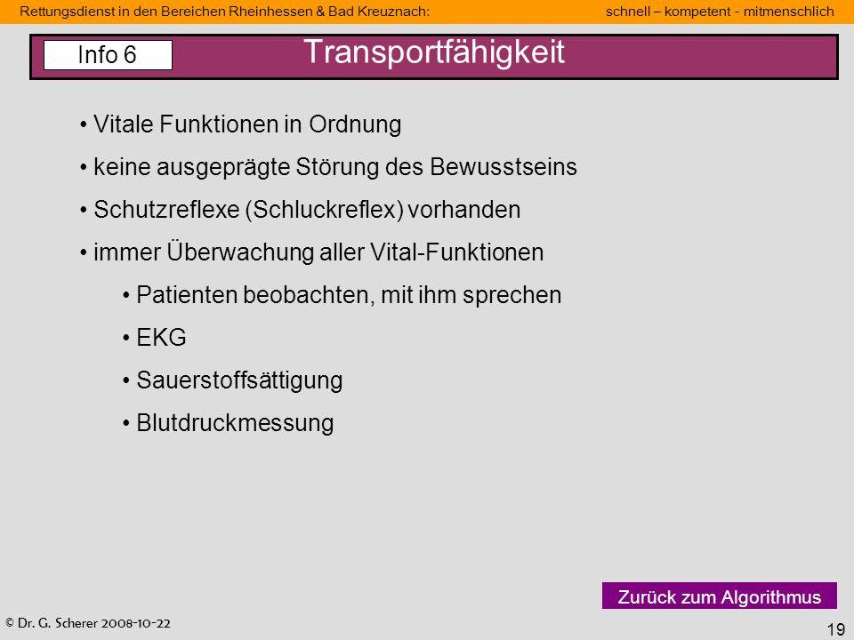 Transportfähigkeit Info 6 Vitale Funktionen in Ordnung
