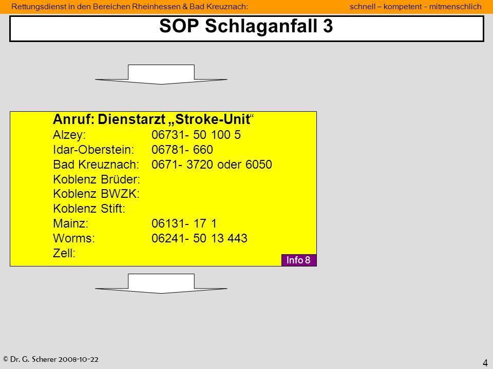 """SOP Schlaganfall 3 Anruf: Dienstarzt """"Stroke-Unit"""