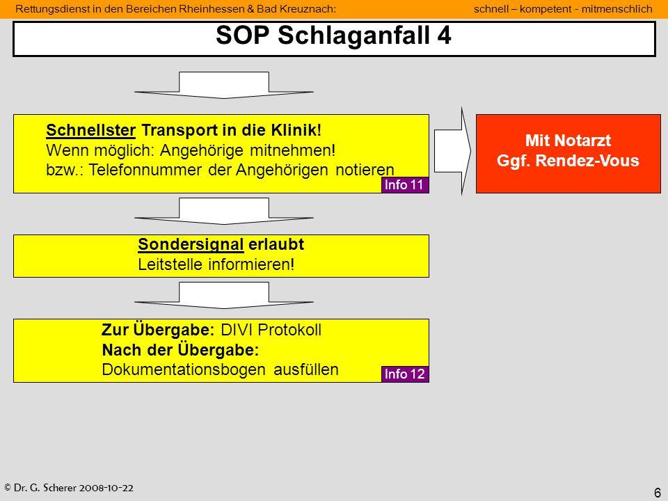 SOP Schlaganfall 4 Schnellster Transport in die Klinik!