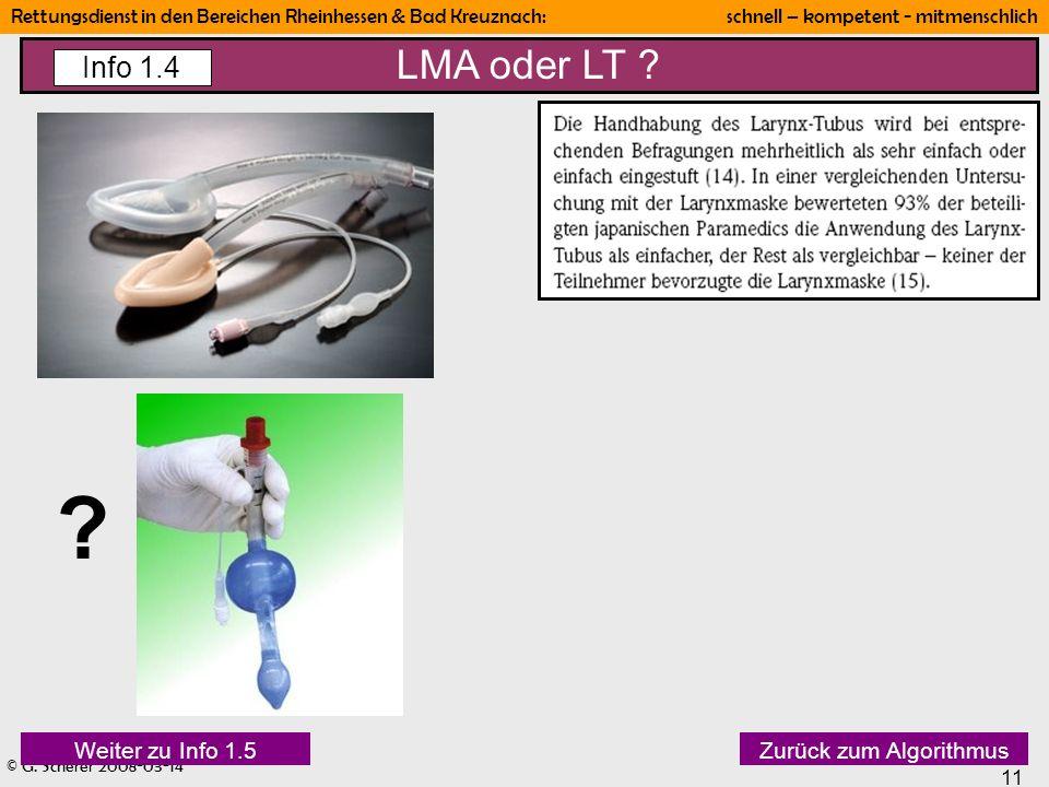 LMA oder LT Info 1.4 Weiter zu Info 1.5 Zurück zum Algorithmus