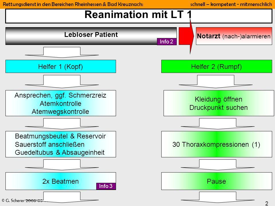 Reanimation mit LT 1 Lebloser Patient Notarzt (nach-)alarmieren