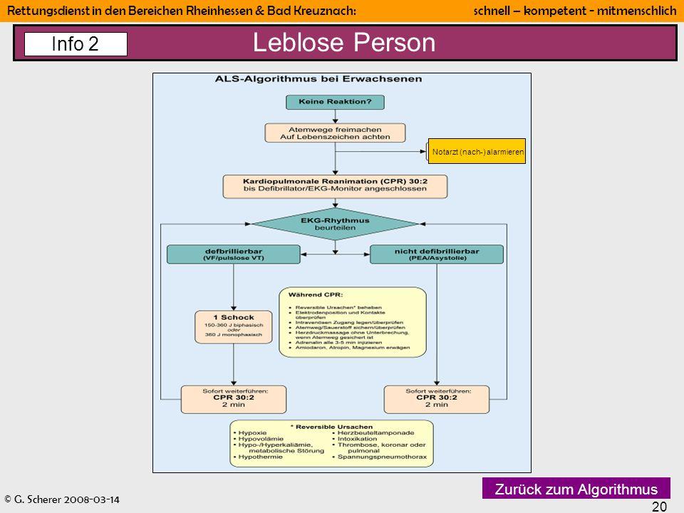 Leblose Person Info 2 Zurück zum Algorithmus