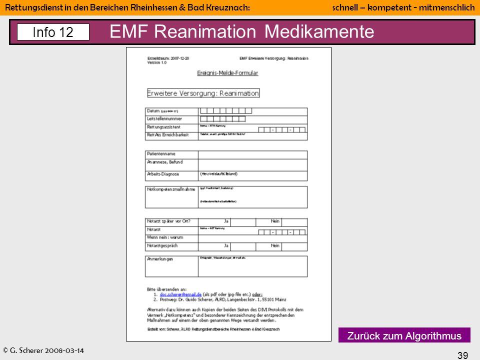 EMF Reanimation Medikamente