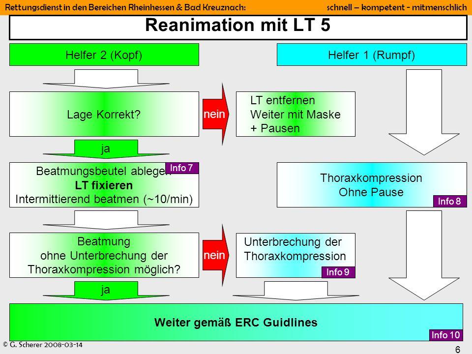 Reanimation mit LT 5 Helfer 2 (Kopf) Helfer 1 (Rumpf) Lage Korrekt