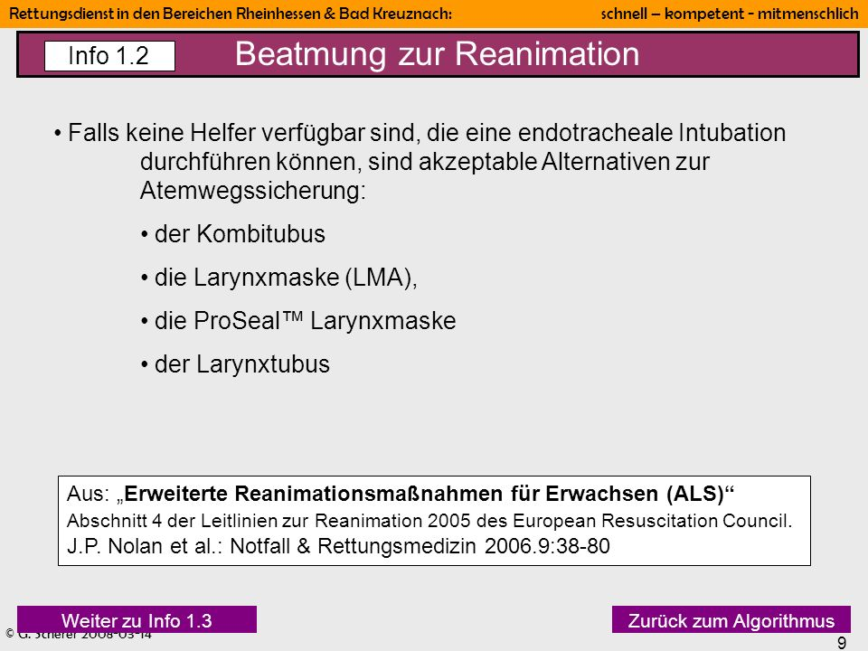 Beatmung zur Reanimation