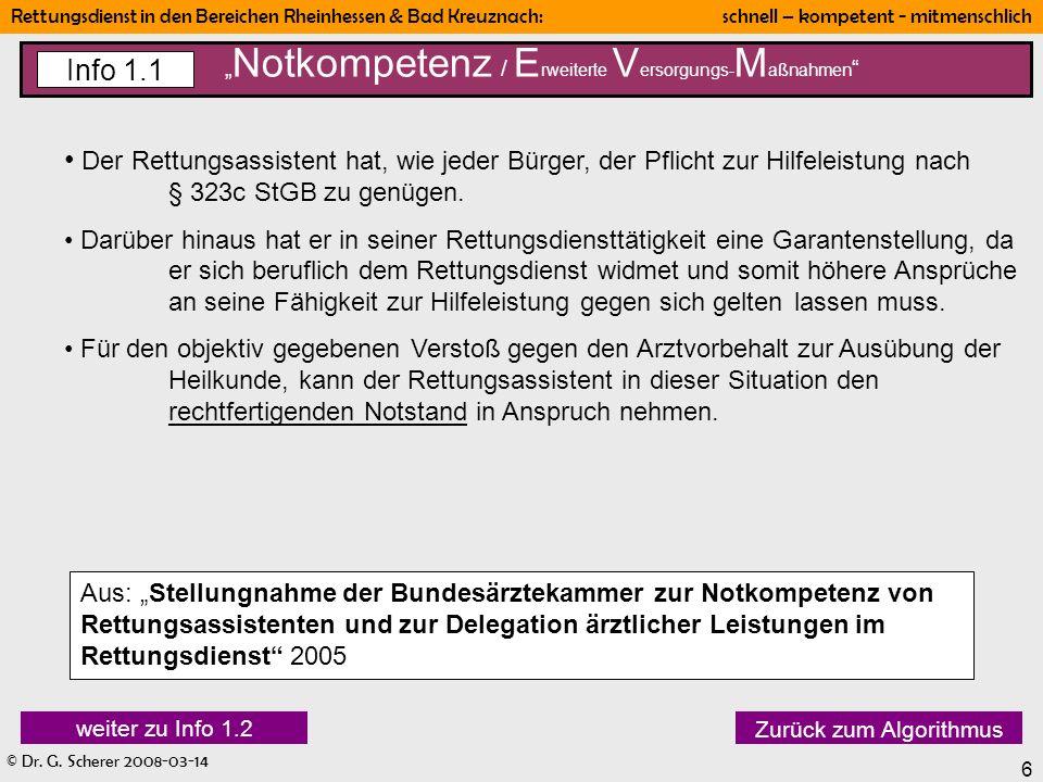 """""""Notkompetenz / Erweiterte Versorgungs-Maßnahmen"""