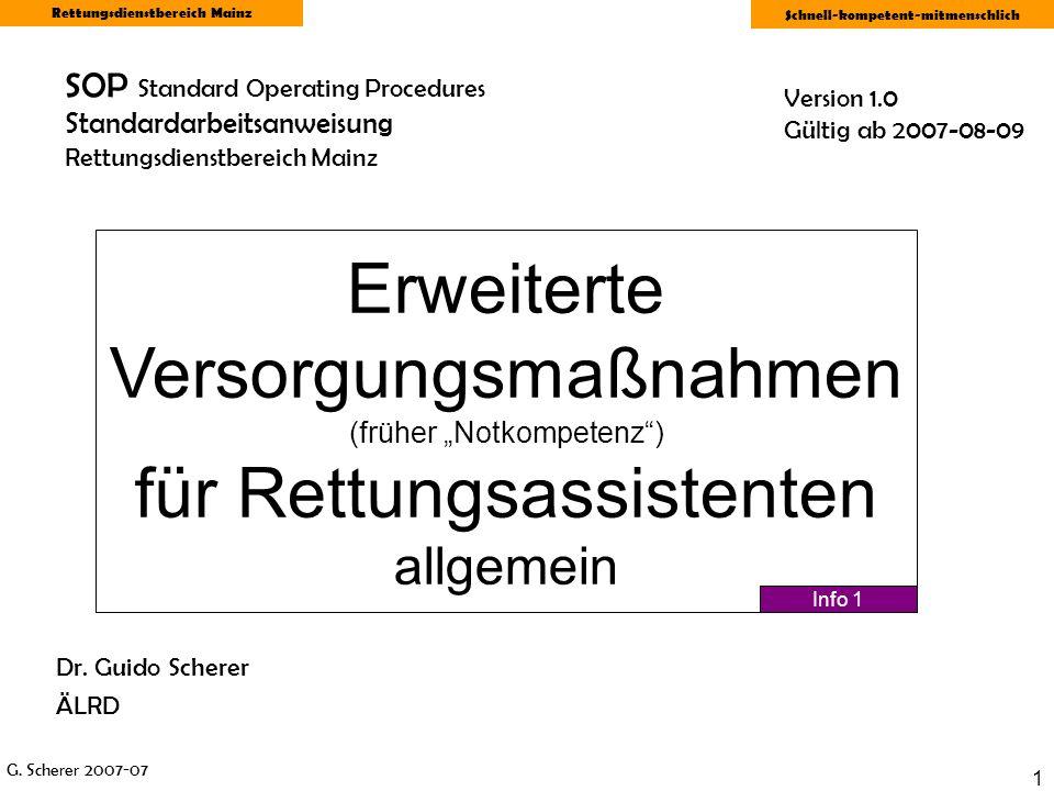 SOP Standard Operating Procedures Standardarbeitsanweisung Rettungsdienstbereich Mainz