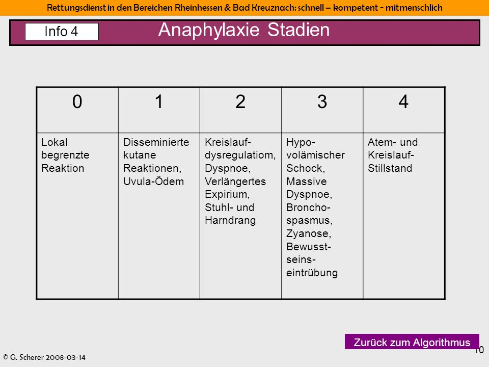 Anaphylaxie Stadien 1 2 3 4 Info 4 Lokal begrenzte Reaktion