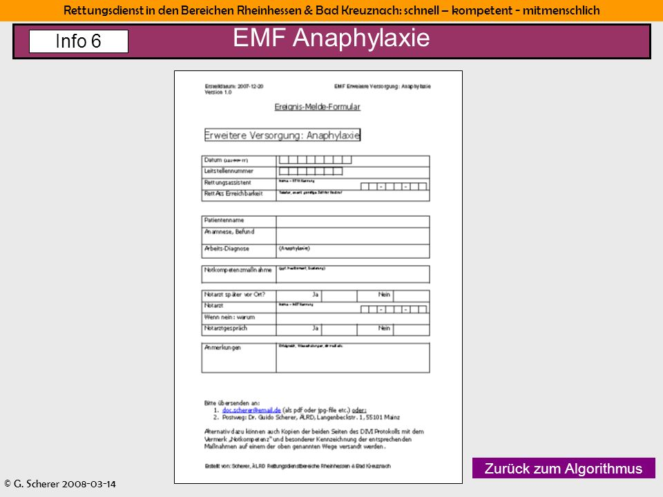 EMF Anaphylaxie Info 6 Zurück zum Algorithmus