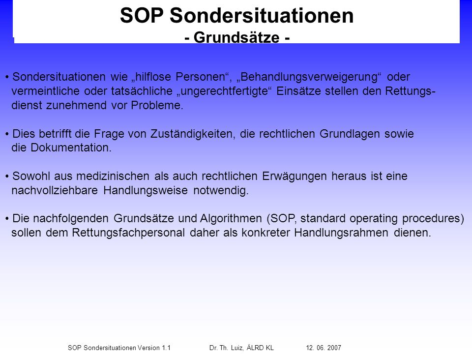 SOP Sondersituationen