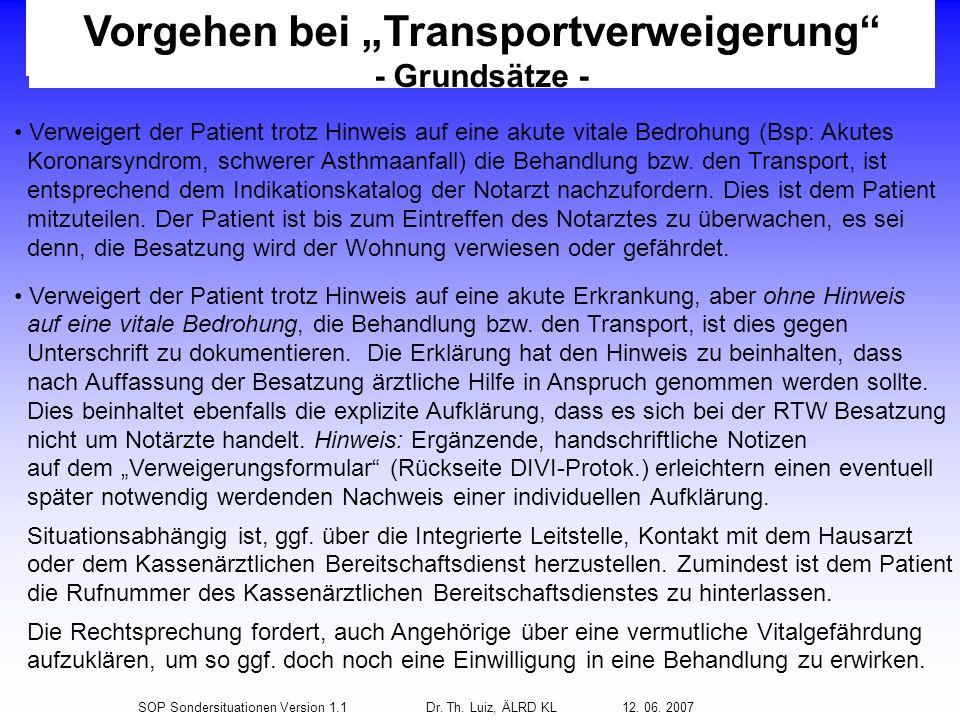 """Vorgehen bei """"Transportverweigerung"""