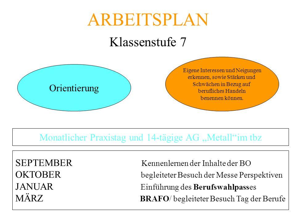 """Monatlicher Praxistag und 14-tägige AG """"Metall im tbz"""