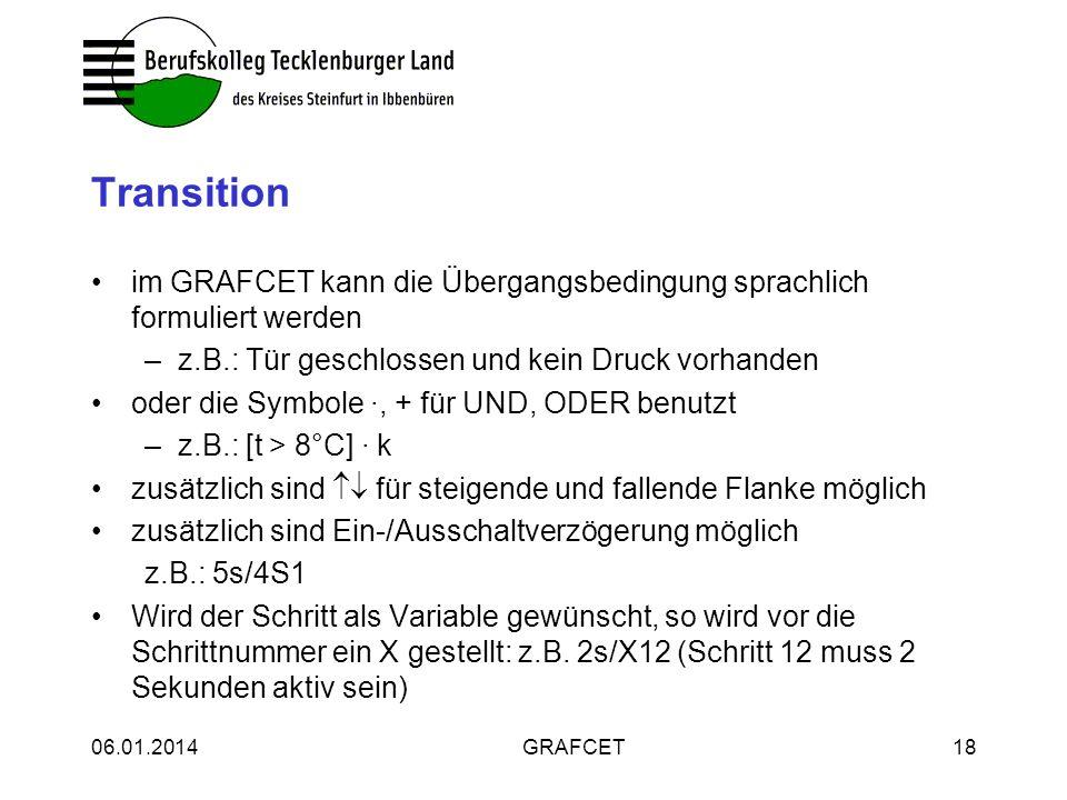 Transitionim GRAFCET kann die Übergangsbedingung sprachlich formuliert werden. z.B.: Tür geschlossen und kein Druck vorhanden.