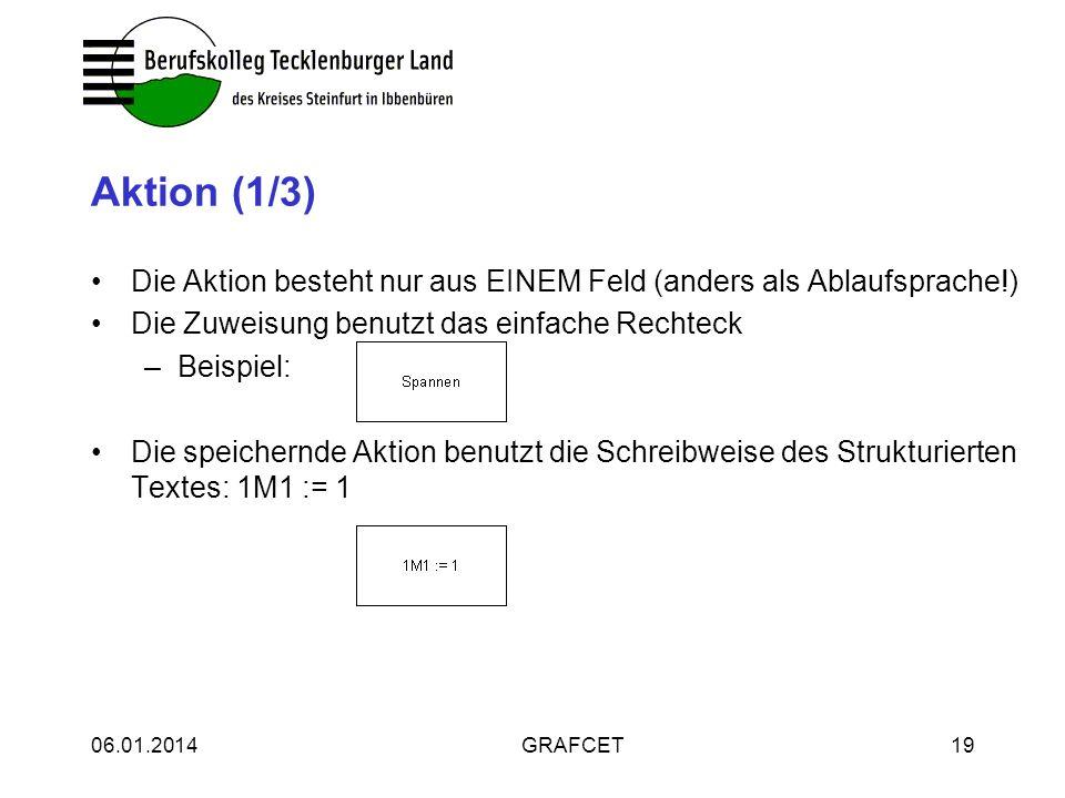 Aktion (1/3) Die Aktion besteht nur aus EINEM Feld (anders als Ablaufsprache!) Die Zuweisung benutzt das einfache Rechteck.