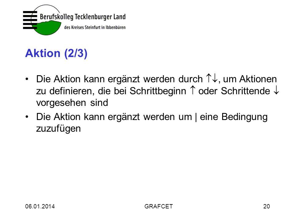 Aktion (2/3) Die Aktion kann ergänzt werden durch , um Aktionen zu definieren, die bei Schrittbeginn  oder Schrittende  vorgesehen sind.