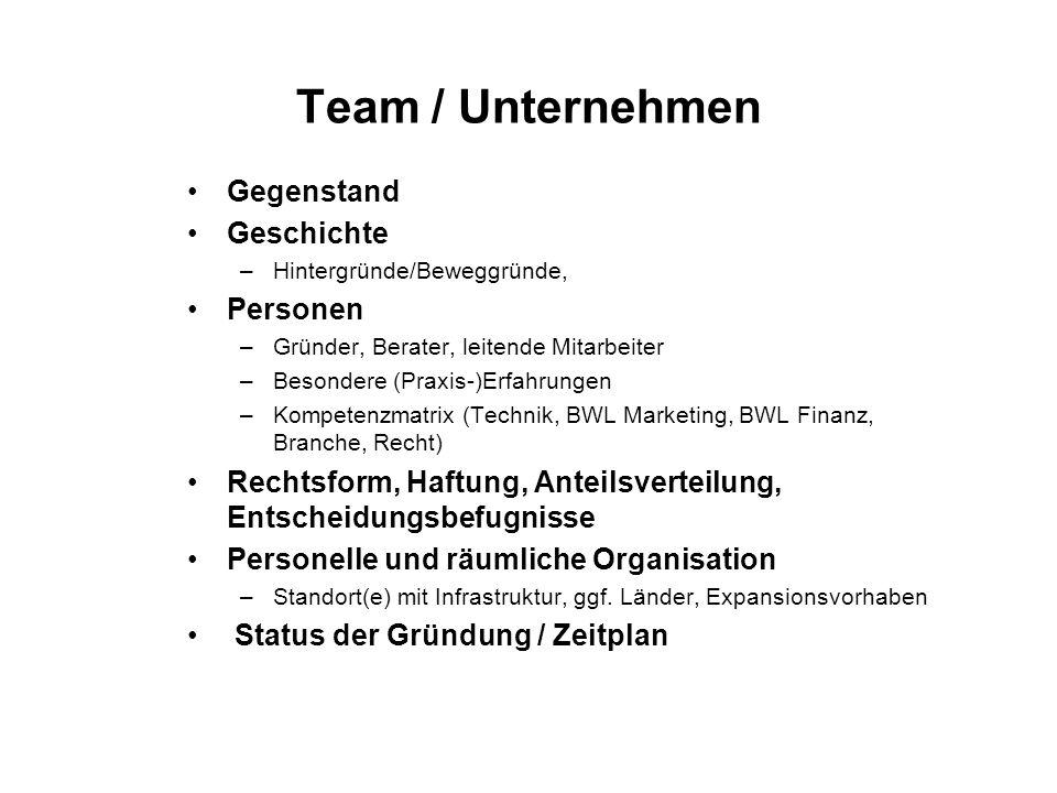 Team / Unternehmen Gegenstand Geschichte Personen