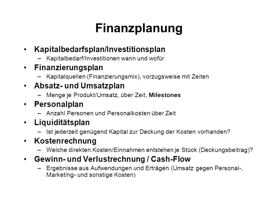 Finanzplanung Kapitalbedarfsplan/Investitionsplan Finanzierungsplan