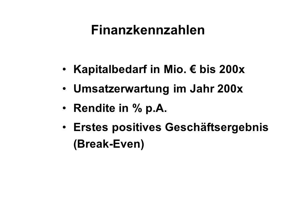 Finanzkennzahlen Kapitalbedarf in Mio. € bis 200x