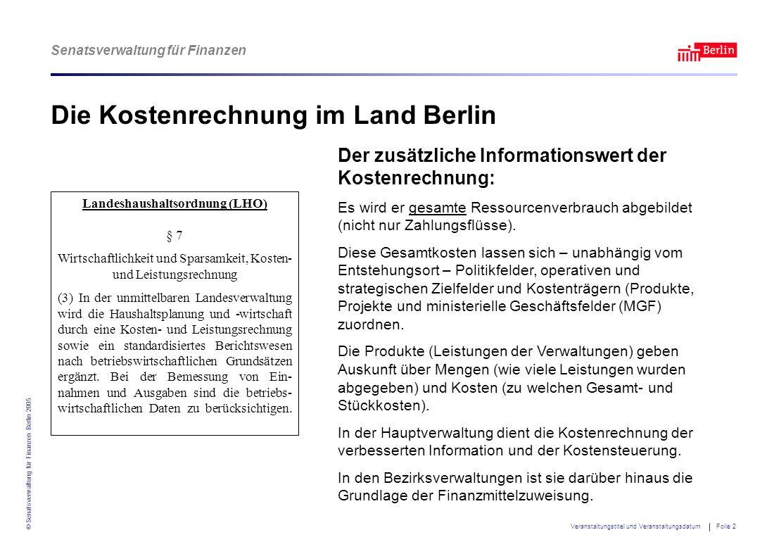 Die Kostenrechnung im Land Berlin