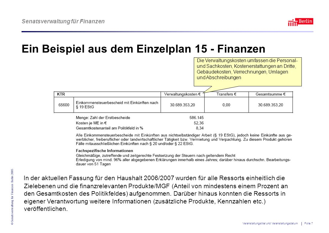 Ein Beispiel aus dem Einzelplan 15 - Finanzen