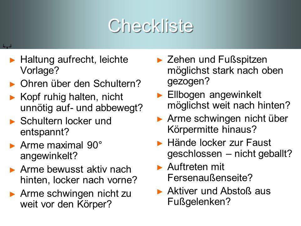 Checkliste Haltung aufrecht, leichte Vorlage