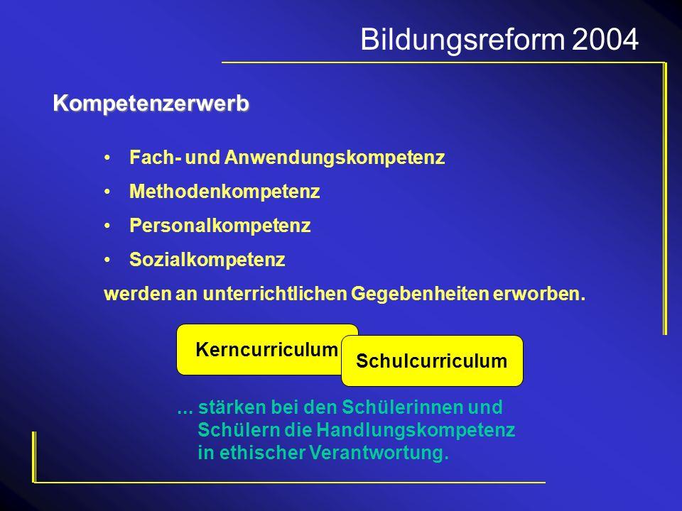 Bildungsreform 2004 Kompetenzerwerb Fach- und Anwendungskompetenz