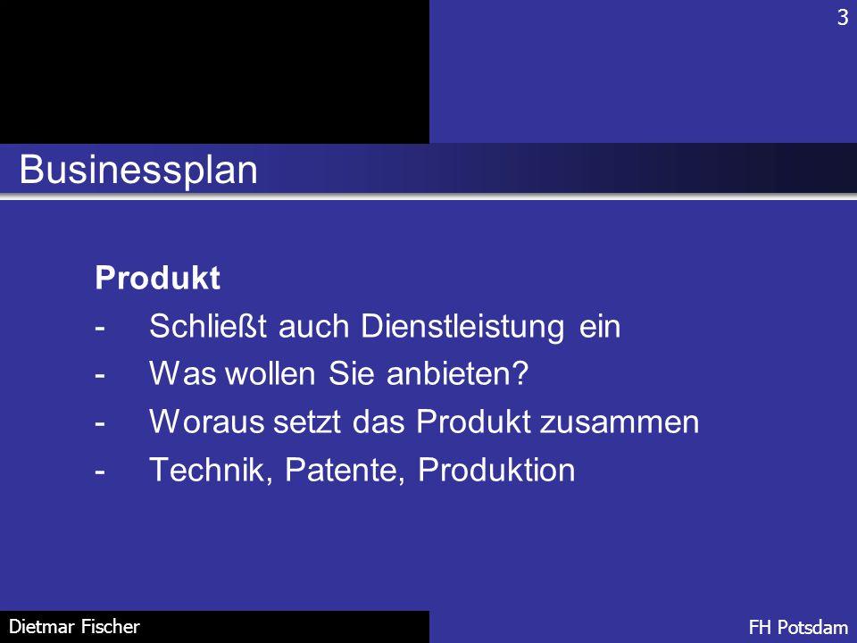 Businessplan Produkt Schließt auch Dienstleistung ein