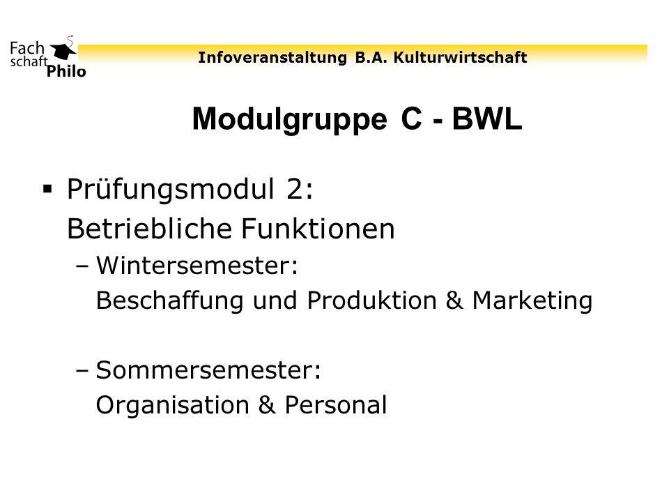 Modulgruppe C - BWL Prüfungsmodul 2: Betriebliche Funktionen
