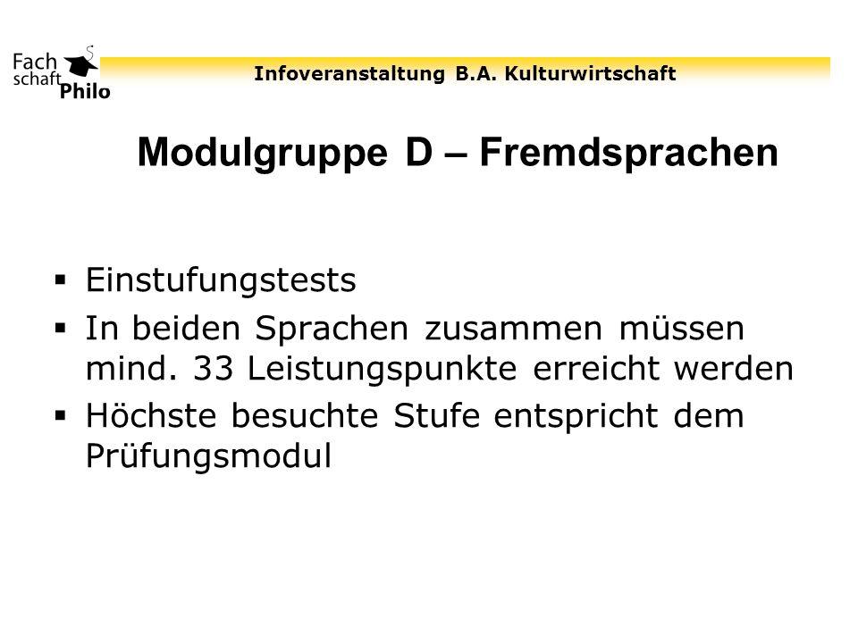 Modulgruppe D – Fremdsprachen