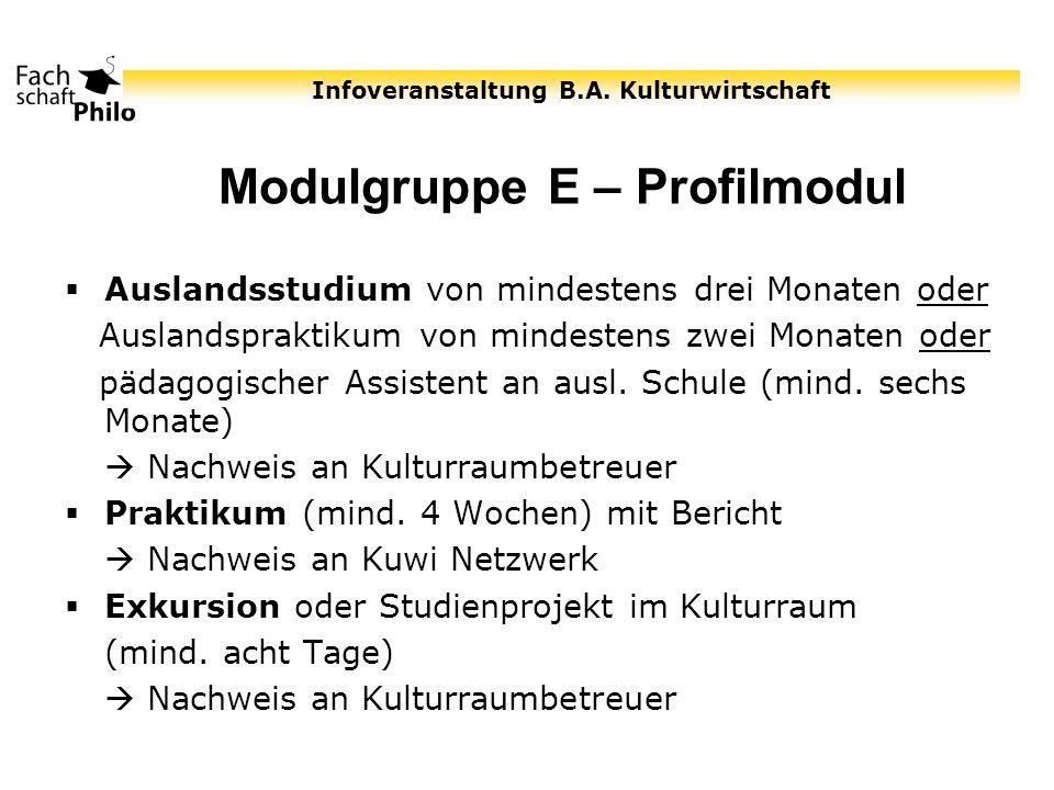 Modulgruppe E – Profilmodul