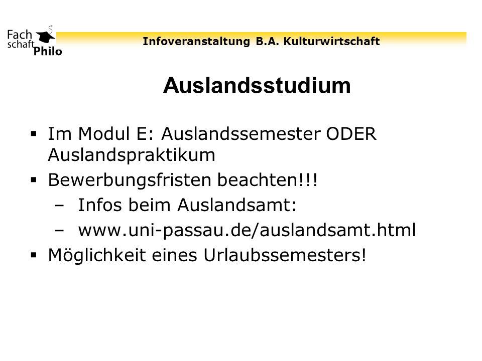 Auslandsstudium Im Modul E: Auslandssemester ODER Auslandspraktikum