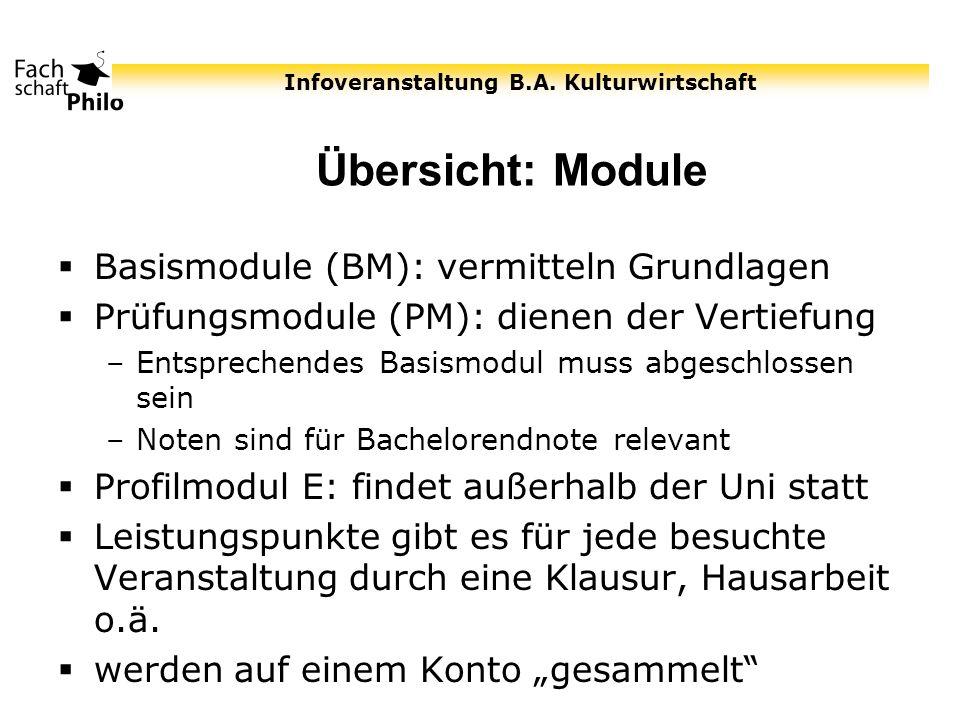 Übersicht: Module Basismodule (BM): vermitteln Grundlagen