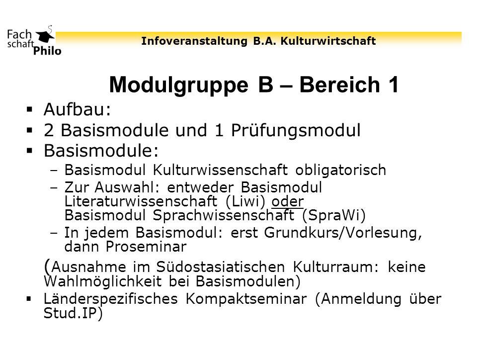 Modulgruppe B – Bereich 1