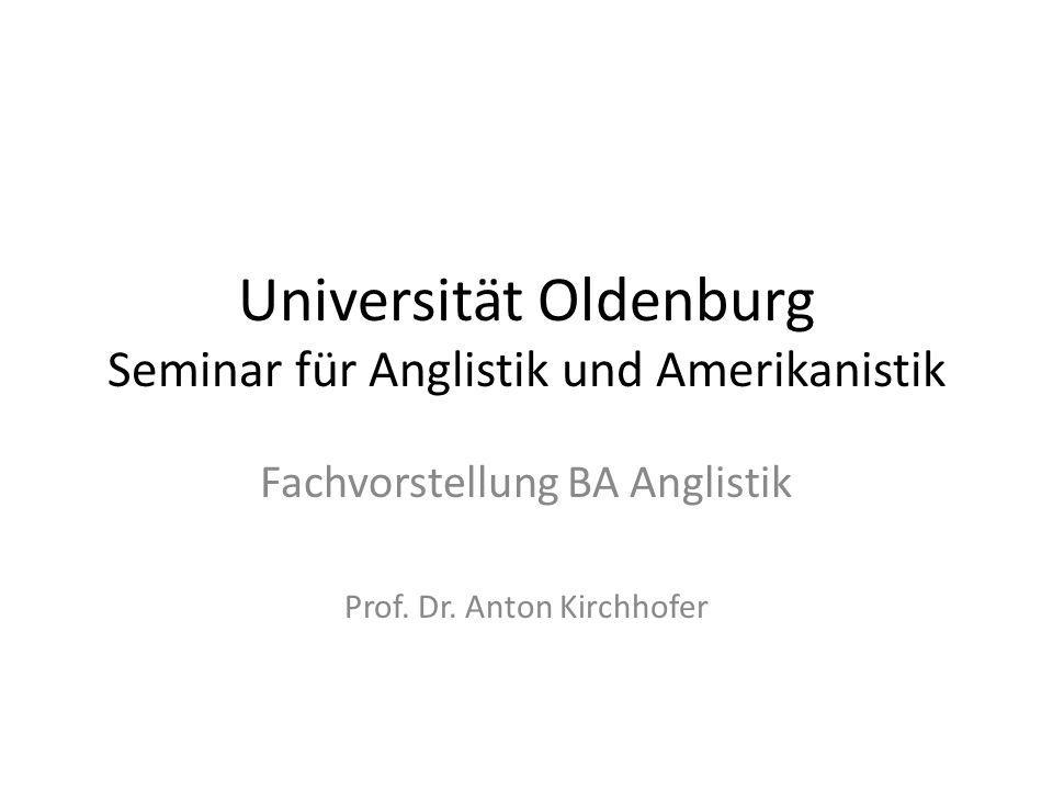 Universität Oldenburg Seminar für Anglistik und Amerikanistik