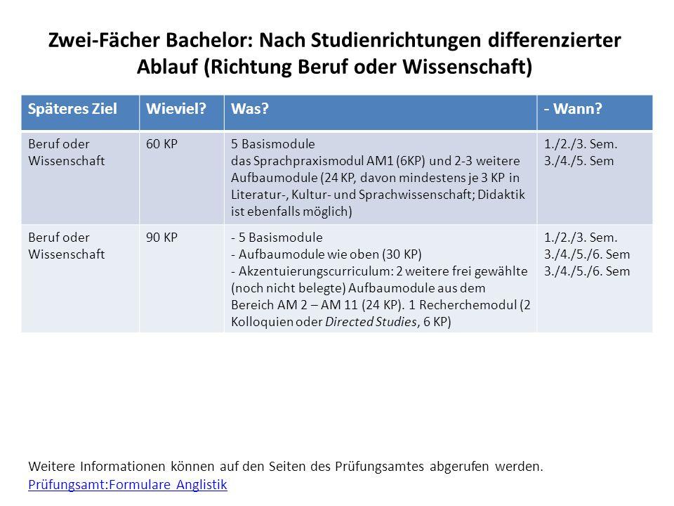 Zwei-Fächer Bachelor: Nach Studienrichtungen differenzierter Ablauf (Richtung Beruf oder Wissenschaft)