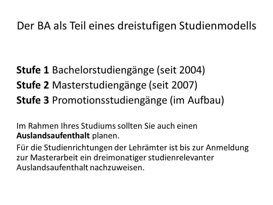 Der BA als Teil eines dreistufigen Studienmodells