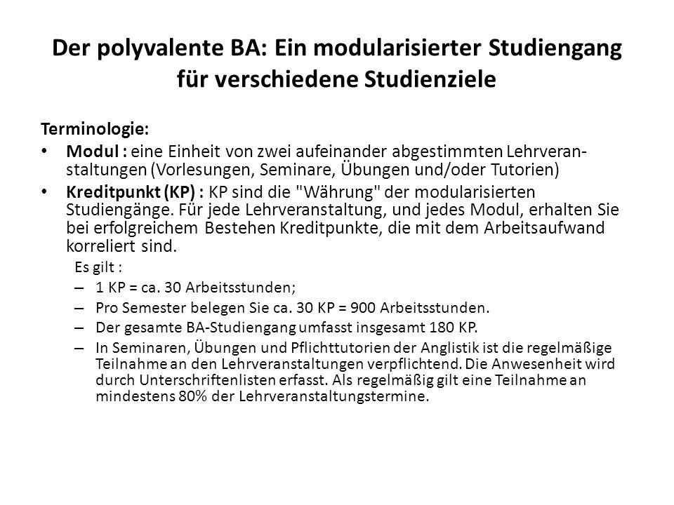Der polyvalente BA: Ein modularisierter Studiengang für verschiedene Studienziele