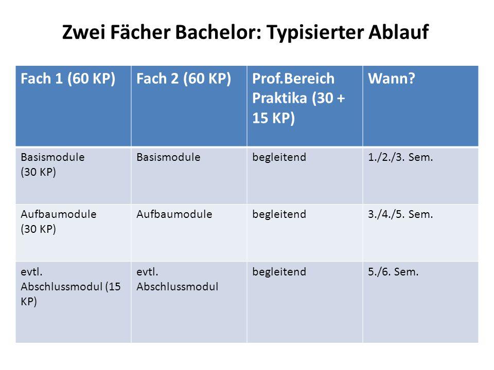 Zwei Fächer Bachelor: Typisierter Ablauf