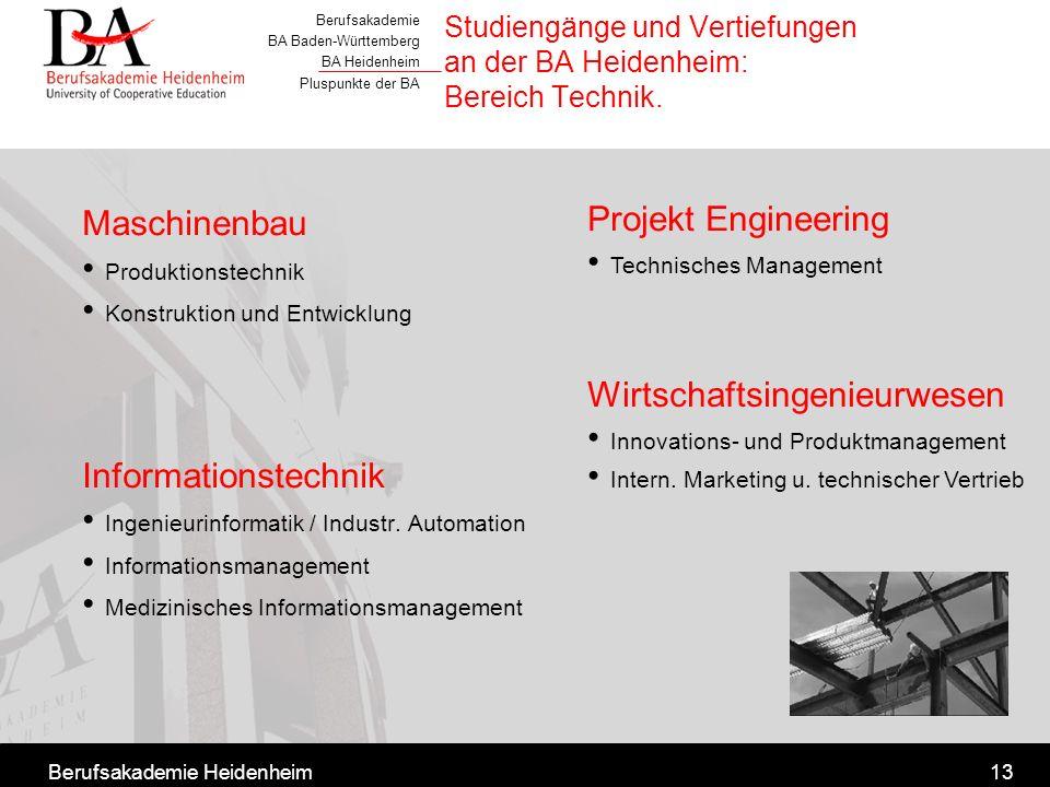 Studiengänge und Vertiefungen an der BA Heidenheim: Bereich Technik.