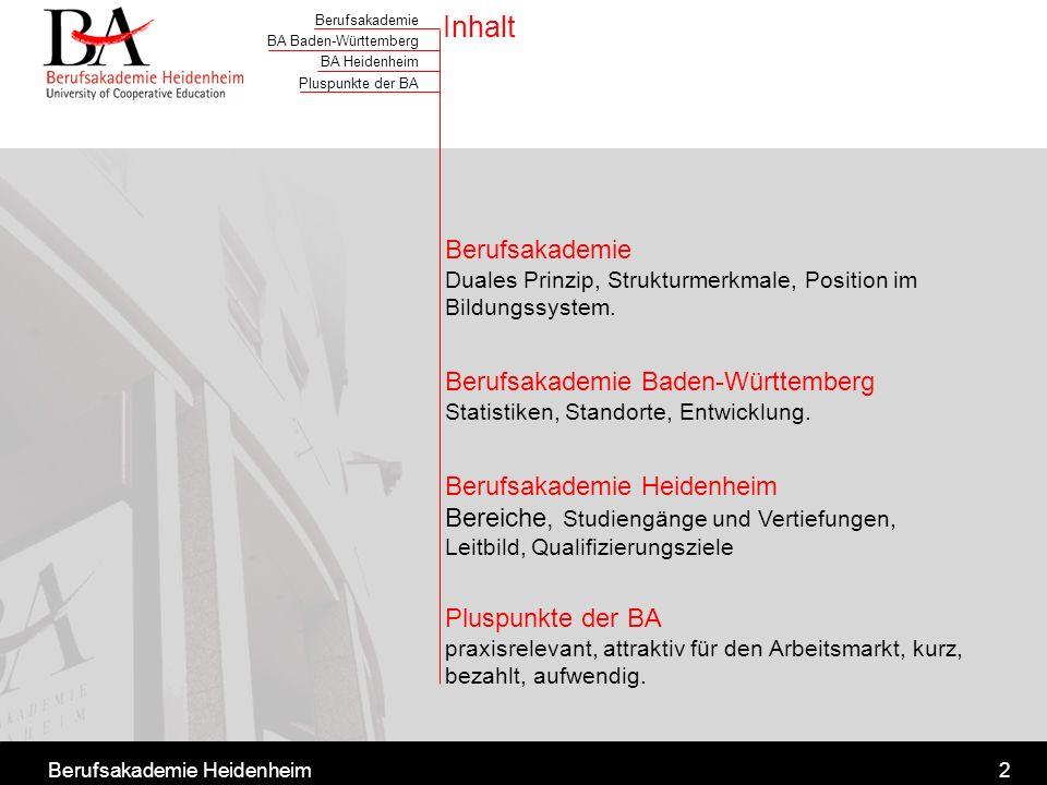 Inhalt Berufsakademie Duales Prinzip, Strukturmerkmale, Position im Bildungssystem.