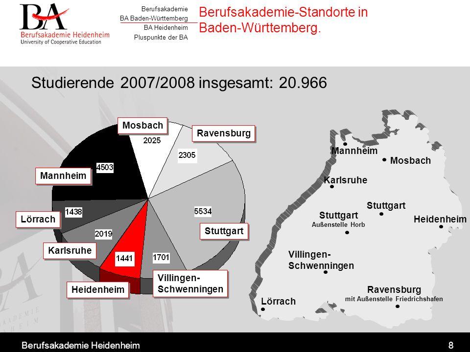 Berufsakademie-Standorte in Baden-Württemberg.